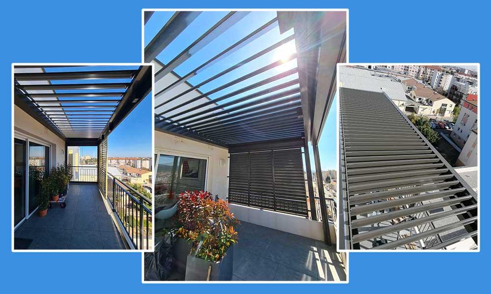 Installation pergola bioclimatique sur balcon Valence